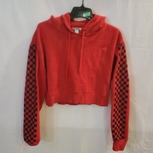 Forever 21 red racing check sweatshirt size Small